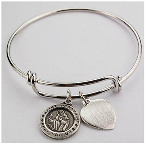 st-peregrine-bracelet-medal-pewter-patron-saint-cancer-adult-2-3-4-diameter