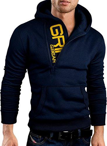 Navy Zip Embroidered - Grin&Bear Slim Fit Half Zip Hoodie Jacket Embroidered Sweatshirt, Navy, XXL, GEC401