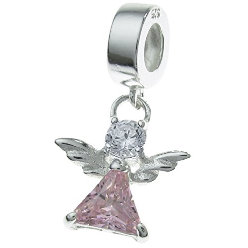 - 925 Sterling Silver Little Guardian Angel Cz Crystal Dangle Bead Fits European Charm Bracelet