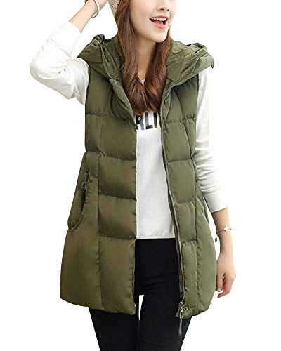Body Hoodie Women's Gilet Jacket Slim Waistcoat Vest DianShaoA Warmer Green Quilted 0SI7nqqwC