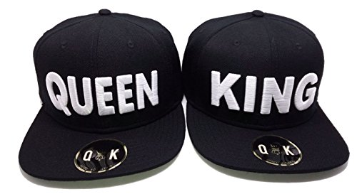 Matching Snapbacks/Baseball CAPS for Couples (King/Queen, Beauty/Beast) (King/Queen | Black) by QUEENITED KINGDOM