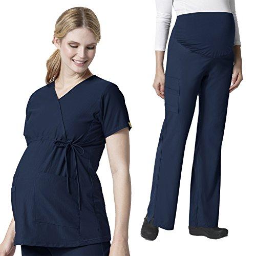 Maternity Stretch Mock Wrap Scrub Top &Maternity Flare Cargo Pant Scrub Set [XS - 3XL]+ FREE GIFT by WonderWink