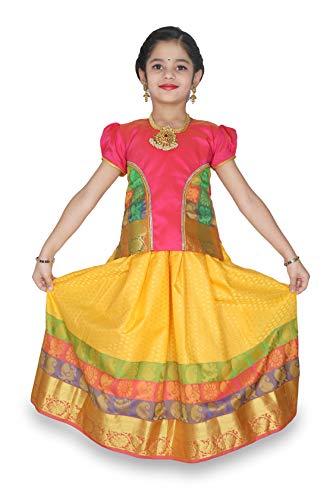 - kaatru Thana Silk Girls Pavadai Set D6 - Lehenga Choli (1-2 Y, Yelllow)