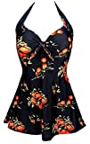 COCOSHIP Black & Orange Tangerine Fruit Vintage Sailor Pin Up Swimsuit One Piece Skirtini Cover Up Swimdress 6XL(FBA)
