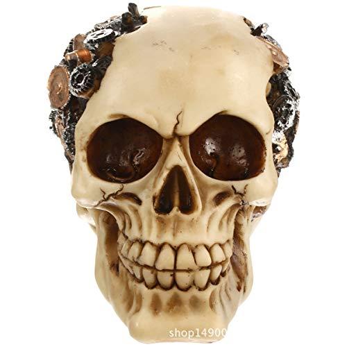 FIZZENN Steampunk Human Skull Protruding Gearwork Cyborg Statue Sci Fi Clockwork Gear Design Skeleton Cranium Figurine Art -
