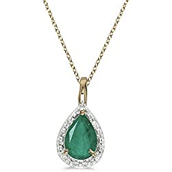 14k Gold Pear Shaped Emerald Pendant Necklace