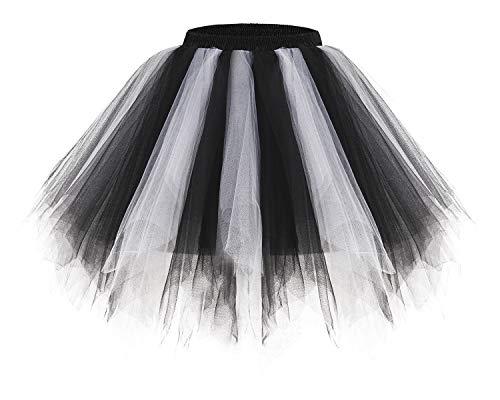 Bridesmay Women's Tutus Tulle Skirt 50s Vintage Petticoat Ballet Bubble Skirts Black-White M]()
