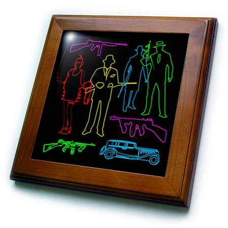 3dRose Alexis Design - Gangsters - Colorful Silhouette Images of Vintage American Gangsters. Funny Decor - 8x8 Framed Tile (ft_295063_1)