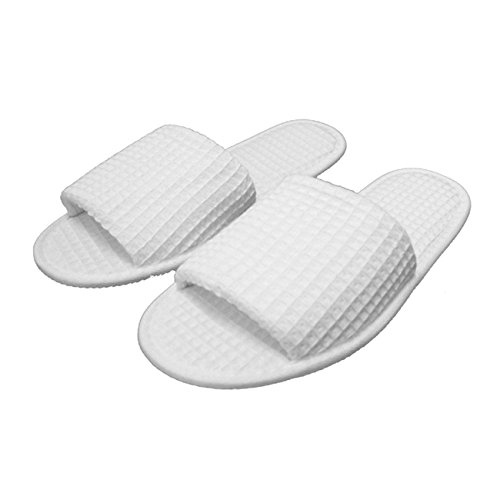 Waffle Open Toe Adult Slippers Cloth Spa Hotel Unisex Slippers for Women and Men Wholesale 100 Pcs White by TowelRobes