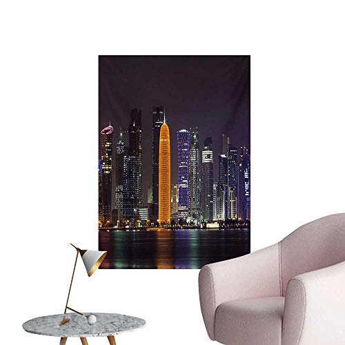Anzhutwelve Urban Photo Wall Paper Qatar Middle East Town with Luminous Skyscraper at Night Arabic ViewCharcoal Grey Purple Orange W24 xL36 Wall Poster