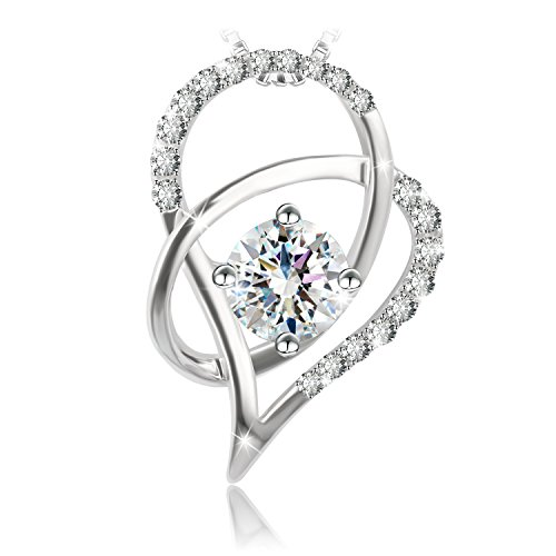 "J.Rosée Jewelry Sterling Silver Pendant Necklace ""Heart of Ice"" Exquisite Gift Package (18inches+2)"