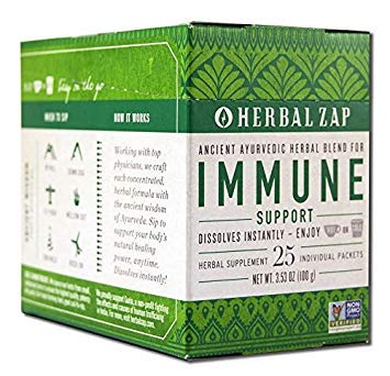 Herbal Zap Immune Support Ayurvedic Herbal Supplement 1 Box of 25 Packets (2 Pack)