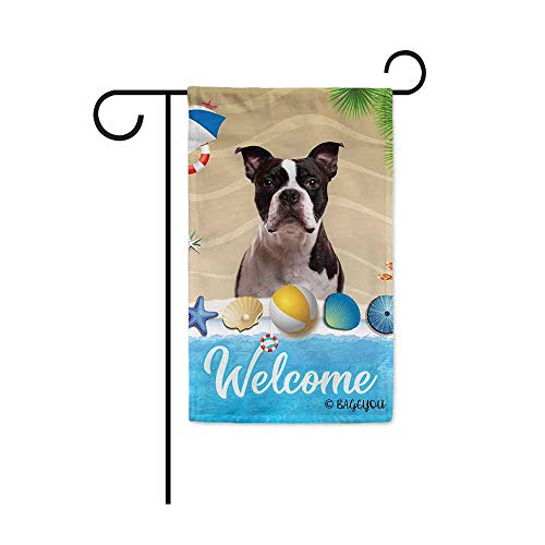 BAGEYOU Welcome Summer My Love Dog Boston Terrier in The Beach Decorative Garden Flag Lovely Puppy Seastar Shell Volleyball Decor Seasonal Banner for Outside 12.5X18 Inch Print Double Sided