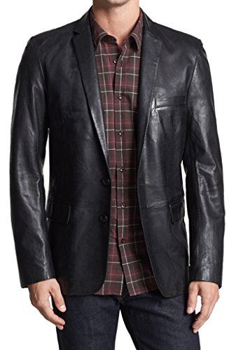 London Craze Men's Stylish Leather Blazer 22 XXXL Black Nappa Leather Blazer