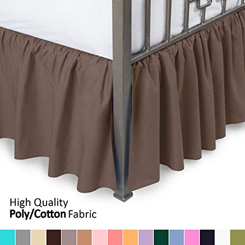 Ruffled Bed Skirt with Split Corners - King, Brown, 18 Inch Drop Bedskirt (Available in and 16 Colors) Dust Ruffle. (Hunter Ruffled Bedskirt)