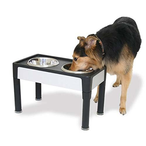 (Signature Series Black & Sandstone Panel Pet Feeder - Med)