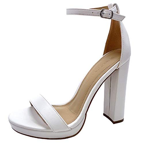(Wild Diva Women's High Chunky Block Heel Pump Dress Heeled Sandals (8, White PU Platform))