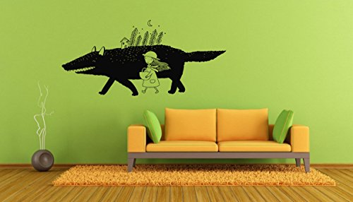 Wall Decals Decor Vinyl Red Riding Hood Girl Pine Forest Trees Wolf Animal Night Sky Dawn Cart Journey GMO1146
