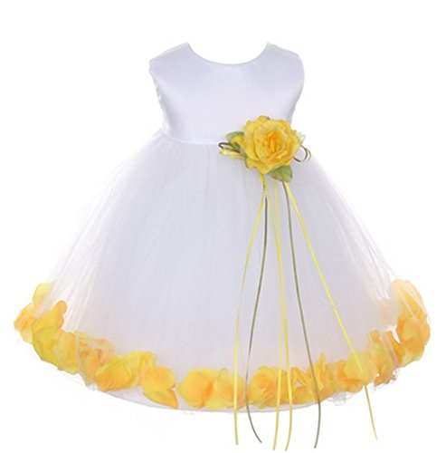 iGirlDress Baby Girls Satin Bodice Flower Pageant Petal Dress Infant 6mos White/Yellow (Petals Satin Dress Tulle White)