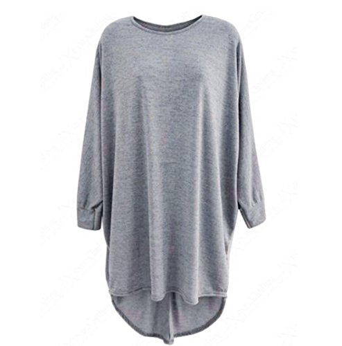 Blackobe Women's Solid Lightweight Knitted Long Sleeve Round Neck Tops Blouse (M, Gray)