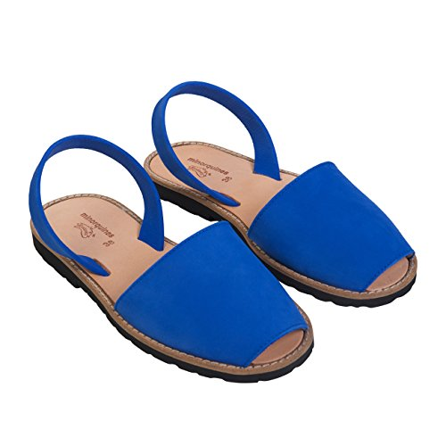 Minorquines - Sandales Avarca Nubuck Bleu Ocean - Femme