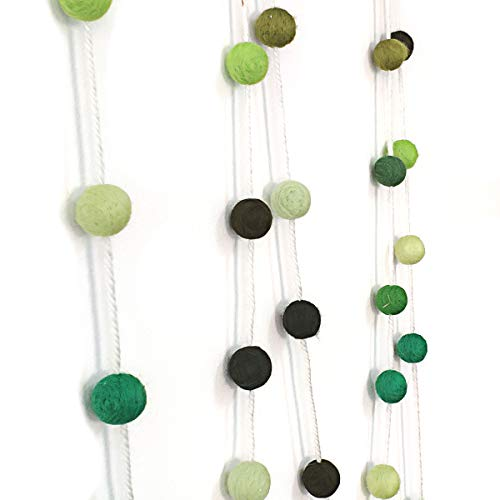 Misscrafts Felt Ball Garland 9.8 Feet 100% Wool Roving Pom Pom Garland 35 Colorful Balls 20mm for Baby Shower Grand Opening Party Patrick 's Day Banner Festivals Room Decor Spring Green ()