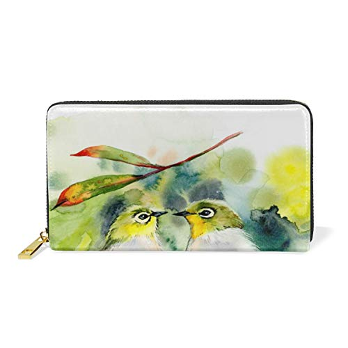Couple Birds Kiss Genuine Leather Wallet Case Credit Card Holder Travel Purse With Zipper Pocket For Women by NWTSPY
