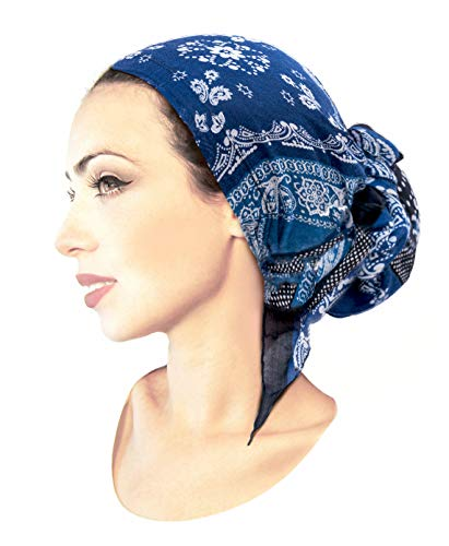 ShariRose Soft Lightweight Navy Blue pre-Tied Head-Scarf Tichel Weightless Collection! (Navy Blue Black Paisley Polka dot Long)
