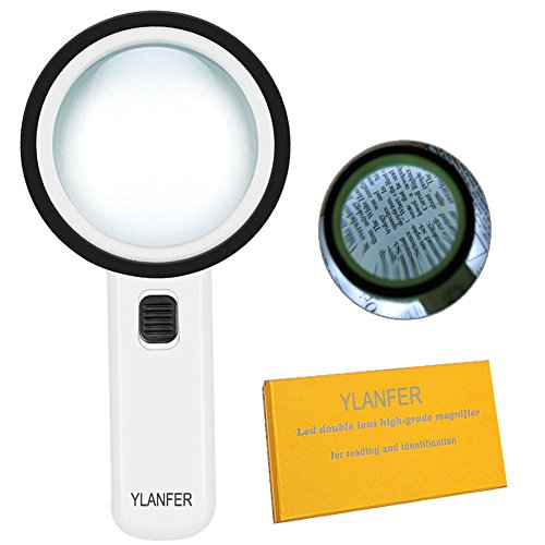 30x Handheld Lighted Magnifier - Extra Large Double Glass Lens Magnifying Glass With 12 LED Lights for Reading - Soldering - Inspection - Exploring - Hobbies - Jewelry and More