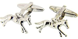 Silver Horse and Jockey Country Cufflinks by David Van Hagen