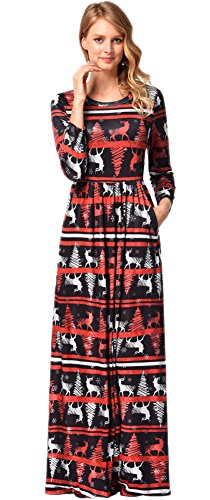 For G and PL Christmas Women Cosplay Gifts Xmas Flared Printed Party Longsleeve Santa Claus Maxi Dress Reindeer 2XL