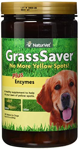 NaturVet - GrassSaver Wafers For Dogs Plus Enzymes - 300 Wafers - Healthy Supplement to Help Rid Your Lawn of Yellow Spots - Synergistic Combination of B-Complex Vitamins & Amino Acids (Best Lawn For Dogs)