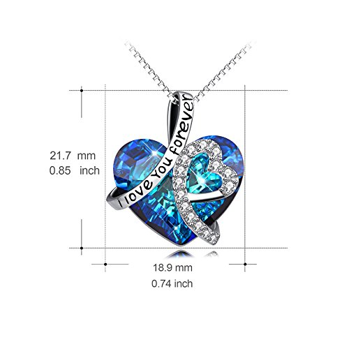 AOBOCO Heart Necklace 925 Sterling Silver I Love You Forever Pendant Necklace with Blue Swarovski Crystals Jewelry for Women Anniversary Birthday Gifts for Girls Girlfriend Wife Daughter Mom by AOBOCO (Image #2)