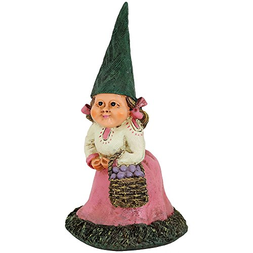 Sunnydaze Garden Gnome Isabella the Female Lawn Statue, Outdoor Yard Ornament, 8 Inch Tall