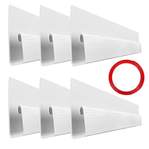 """2 Cable Management Trays - J Channel Cable Raceway - 70.8"""" Desk Cord Management System - Wire Cover Kit with Mounting Tape - Wood Grain 6 Count Cable Organizer for Office, Home, Kitchen (11.8"""" Each, White)"""