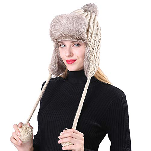 (BAOBAO Women's Cable Knit Ribbed Beanie Thick Warm Windproof Pompom Trapper Hat with Ear Flaps Beige)