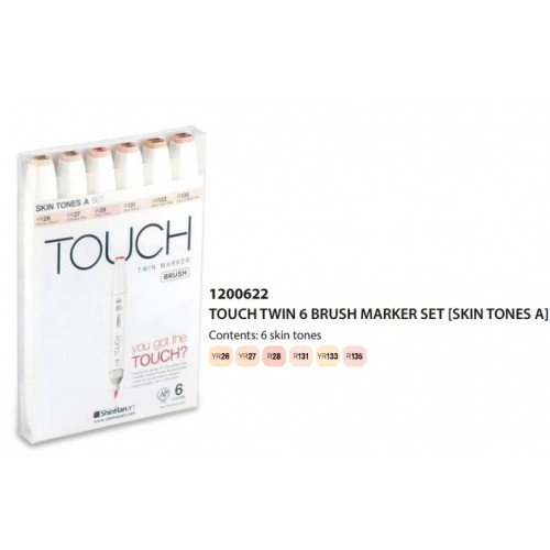 ShinHan TOUCH TWIN Art Markers Flexible Brush / Medium Chisel Tips Set of 6
