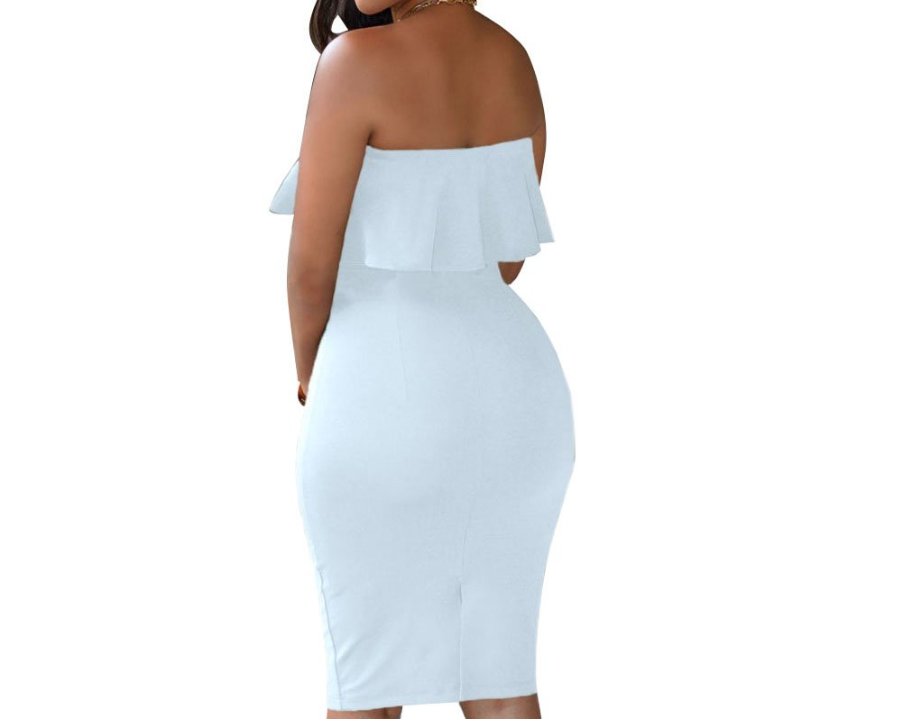e0f47a446 Galleon - Eiffel Women's Off Shoulder Ruffle Crop Top Pencil Skirt Dress  Two-piece Set White