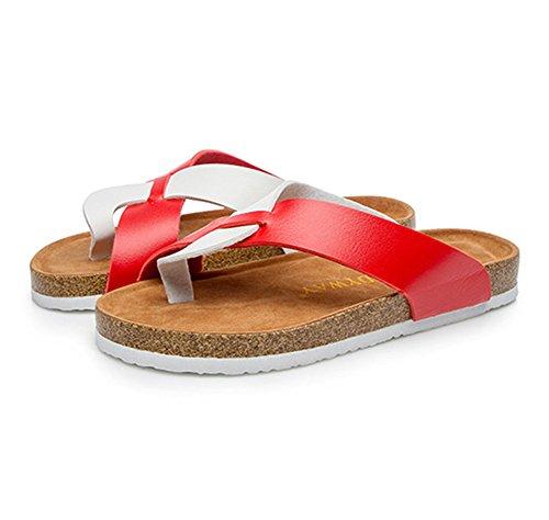 Mujer Verano Plana Chancletas Unisexo Zapatillas Sandalias clip dedo del pie sandalias zapatos de playa Blanco rojo