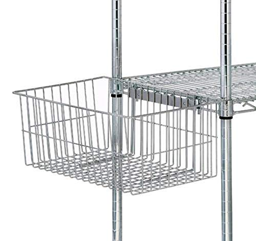 (Quantum Storage Systems UB10 Utility Basket for Wire Shelving Units, Chrome Finish, 7-5/8
