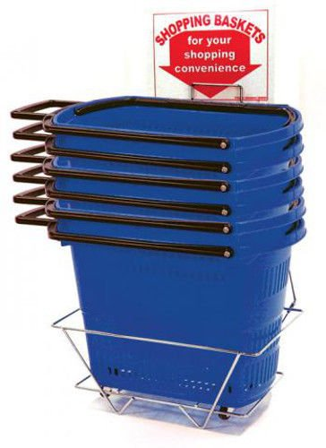 6 Pull Rolling Blue Shopping Baskets with Long Durable Handles