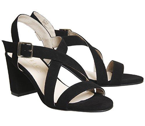 Suede Heel Black Sandals Block Office Marshmallow n6qw7Faa