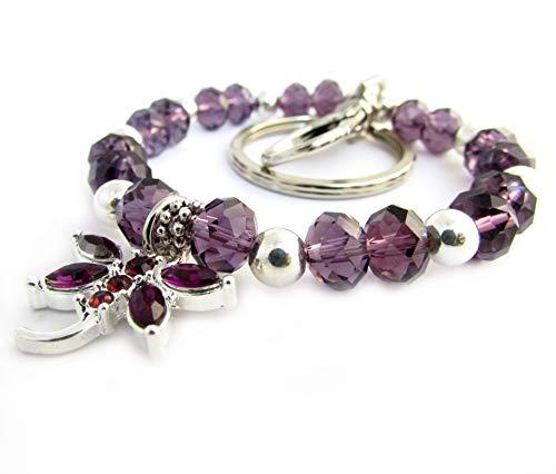 Dragonfly Keychain Bracelet - Purple Crystal - Dragonfly Bracelet Crystal