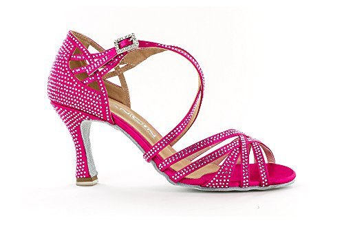 "Scarpa da ballo Limited Edition ""Titina Pully"" in raso fucsia ,listini incrociati 5 fasce , tacco 7,5 cm"