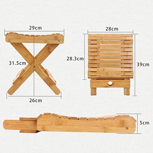 GQQ Chaise de Bureau, Petite Chaise Pliante de Tabouret Pliant de Tabouret En Bois Extérieur de Maison Portable