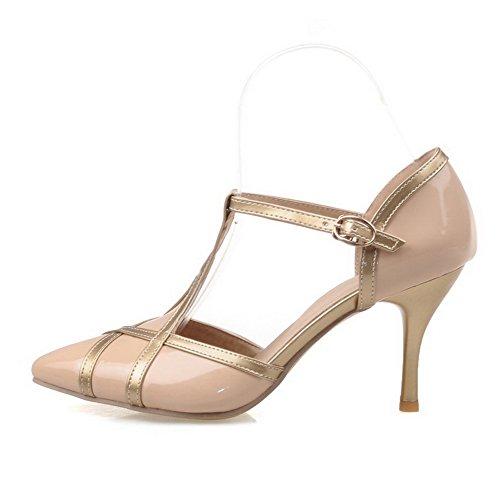 Balamasa Dames Boucle Winkle Pinker Stiletto Imité En Cuir Pompes-chaussures Abricot