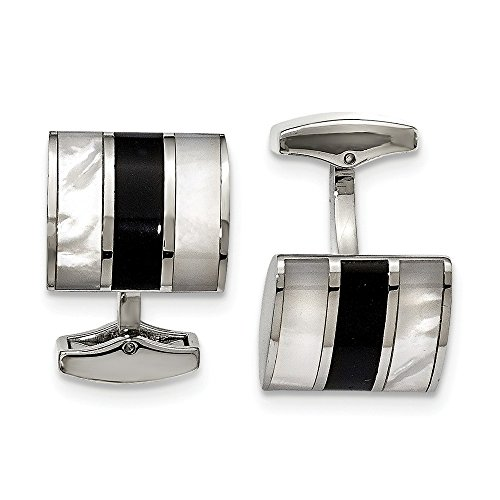 - JewelryWeb Stainless Steel Polished Black Semi-Precious Stone and Simulated Mother of Pearl Cuff Links