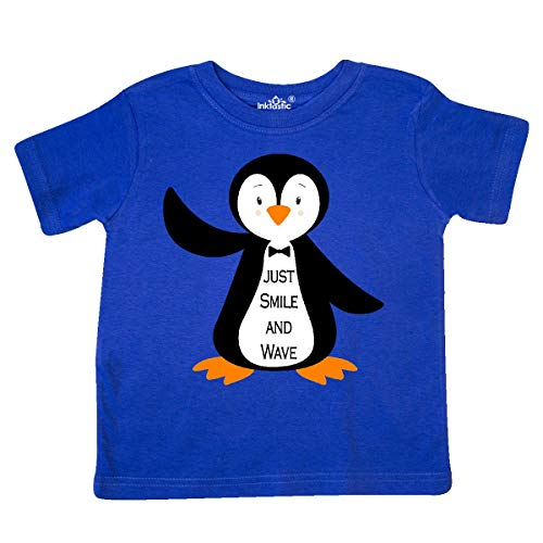 inktastic - Just Smile and Wave Penguin Toddler T-Shirt 4T Royal Blue 248c6