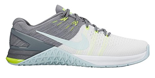 Nike Metcon DSX Flyknit SZ 9 Womens Cross Training White/Glacier Blue-Cool Grey-Volt Shoes by NIKE