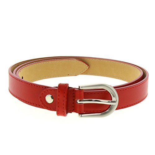 FASHIONGEN - Women genuine Italian leather belt LUNA for thousers, jeans - Red, 105 cm (41.30 in) / Trousers 17 to 20